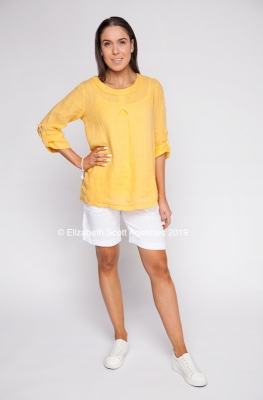 Long Sleeve Linen Cowl Neck Top