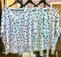 Linen/Cotton Top With Polka Dots