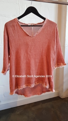 Linen/Cotton V Neck Vintage Wash Top With Raw Edge and 3/4 Sleeve