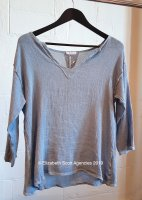 Linen/Cotton Vintage Wash Top With 3/4 Sleeve and Lurex V Neck