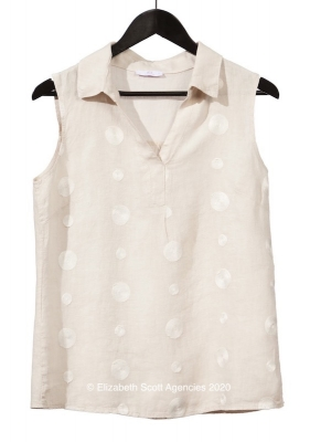 Embroidered Circle V Neck Sleeveless Top