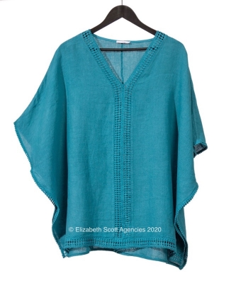 Poncho Top with Lace Trim