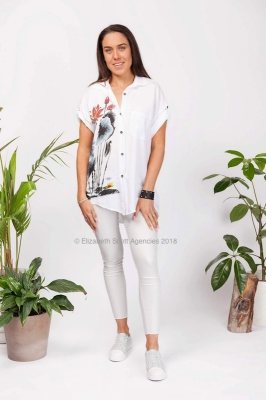 Lotus Tencel Shirt with Diamante Detail