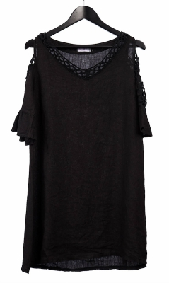 Linen Tunic with Split Sleeve and Lace Detail
