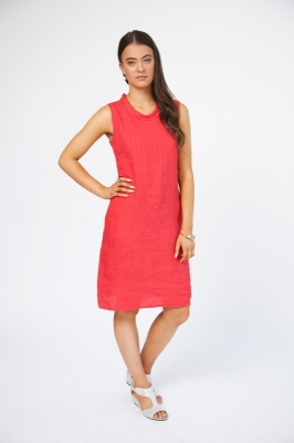 Linen Dress With Cowl Neck And Pin Tucking