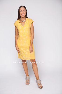 V Neck Dress With Embroidered Centre
