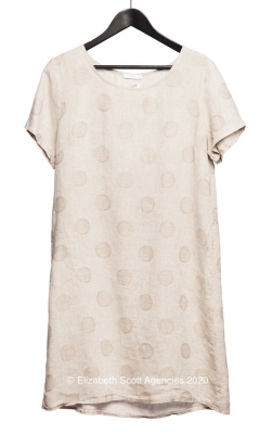 Circle Embroidered Linen Dress