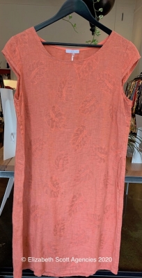 Pure Linen Embroidered Dress With Cap Sleeves