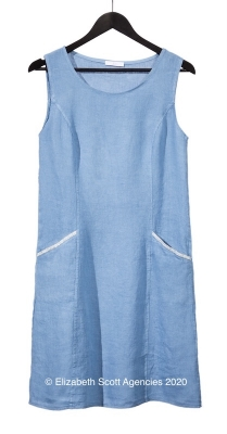 Linen Dress With Silver Trim Pockets