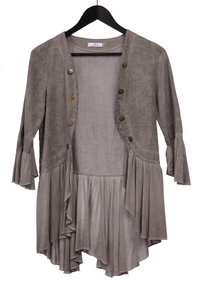 Linen Jacket With Viscose Frill Sleeve