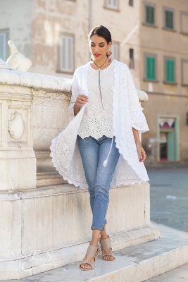 Cotton Tie Front Lace Cape