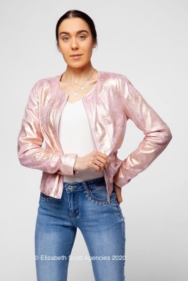 Metallic Effect Suedette Jacket