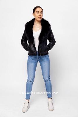Faux Fur Trim Biker Jacket with Lacing